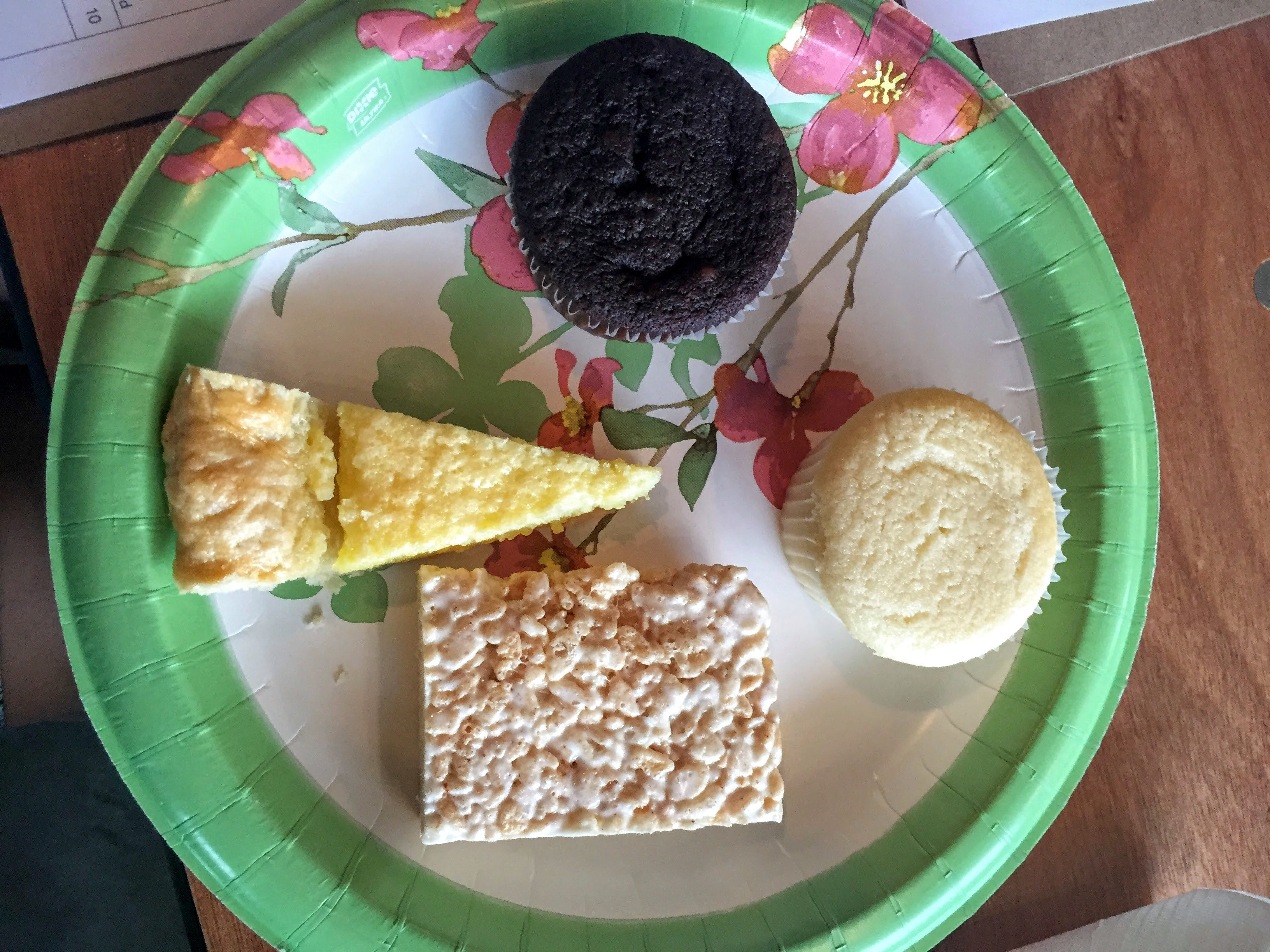 Our plate of goodies to taste and decorate included a chocolate cupcake, a vanilla cupcake, a rice crispy treat (for tasting), and a piece of lemon chess pie. YUM!