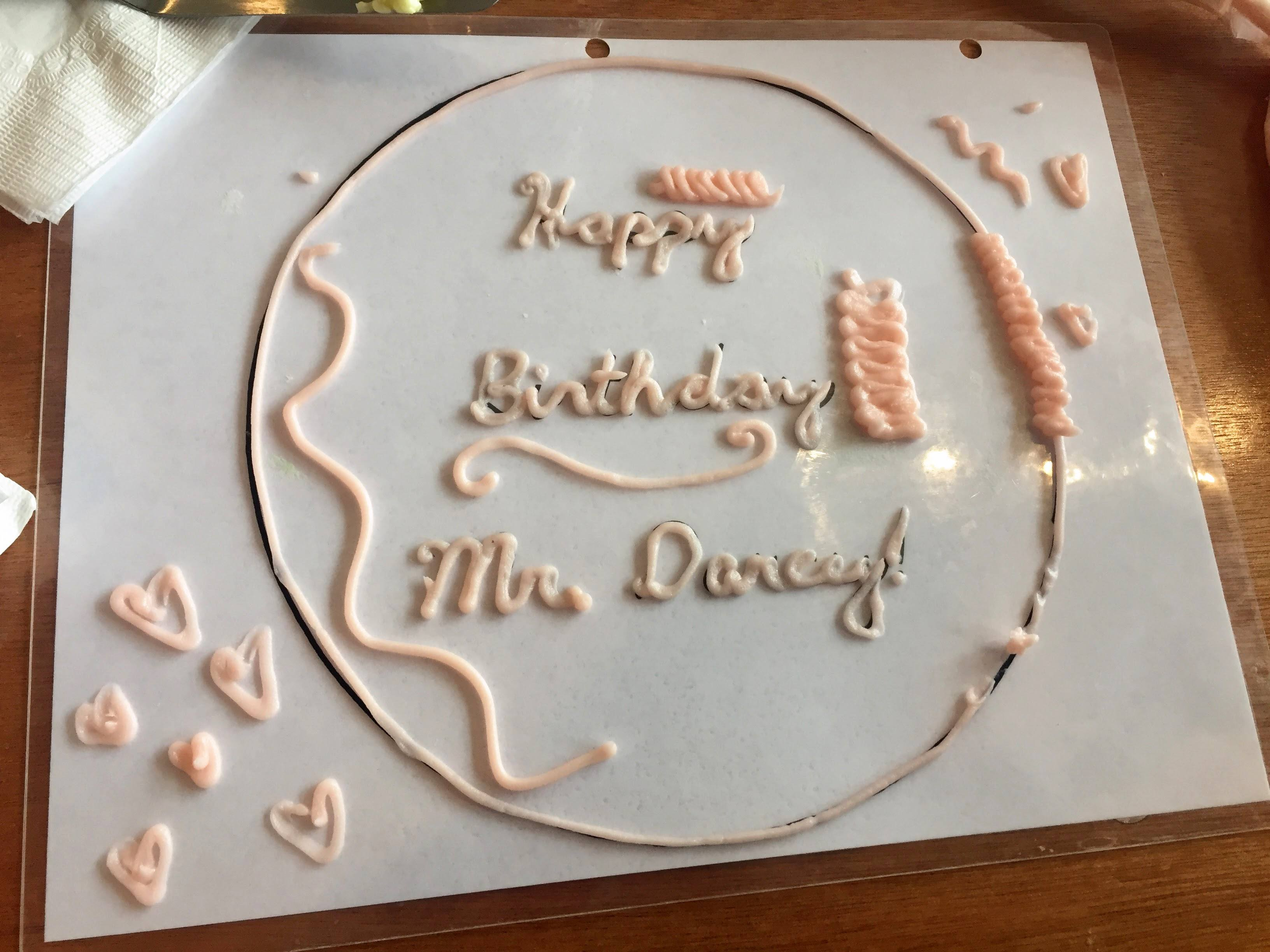 There was no better way to close out our tour than to practice attempting cake lettering. Let me tell you-I wish stencils magically appeared on tops of cakes like this! Lettering is NOT my strong suit, but I made sure I got in a bunch of practice :)!